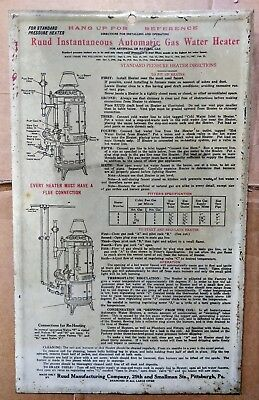 Vintage Metal Ruud Instantaneous Automatic Gas Water Heater Sign