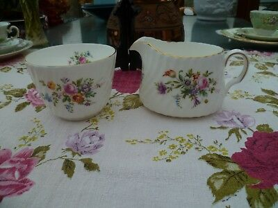Pretty Minton English China Milk Jug & Sugar Bowl Marlow Mixed Flowers S 309