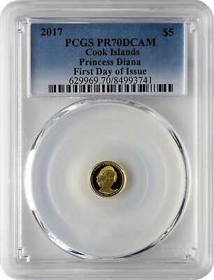 2017 $5 Cook Islands In Memory of Princess Diana Gold Coin PCGSPR70DCAM FD