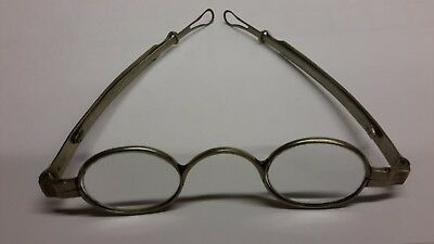 Antique 19c Coin Silver SPECTACLES by HYDE ? Eyeglasses CW Era Sliding Temples