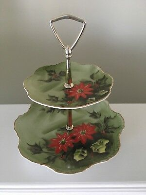 Vintage Lefton China 2 Tier Candy Dish Christmas Poinsettia