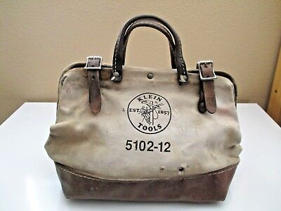 "Vintage Klein Tools Canvas & Leather Bag 5102 12 Lineman 12"" Dirty But Usable"