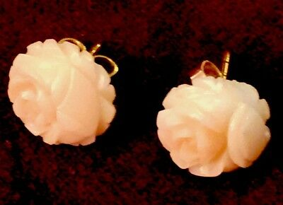 Fine Pair Of 14k Gold Hand Carved Angel Skin Coral Vintage  Earrings