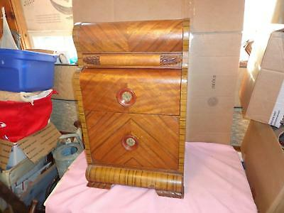 """Vintage  Art Deco  """" Waterfall """"  Style  Two(2)  Drawer  Nightstand - End Table"""