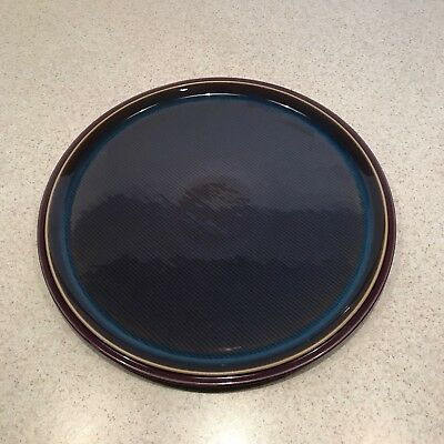 Denby Pottery  Storm 13 inch large serving platter round dish plum gray blue