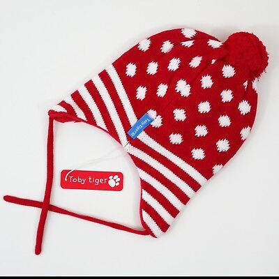 Toby Tiger Baby Boys Girls Red Spots Winter Knitted Bobble Hat Age 0-3-6 Months