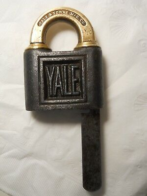 Antique Bronze & Cast Iron Yale & Towne Push Padlock & Key