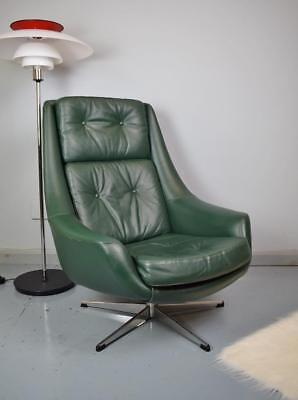 Mid Century Danish H.W. Klein for Bramin Green Leather Swivel Lounge Arm Chair