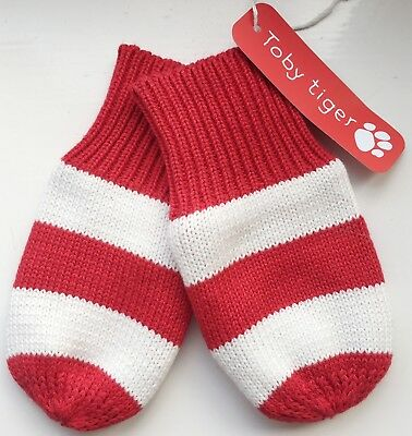 Toby Tiger Baby Boys Girls Red & White Striped Knitted Mittens Age 0-3-6 Months