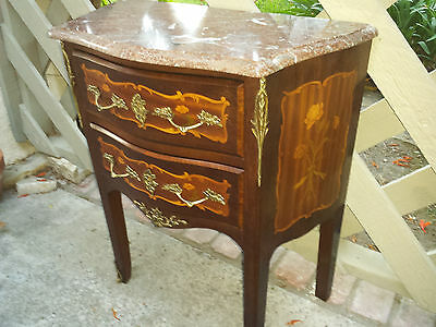 French petite bombe commode, marble top nightstand,inlaided flowers and bronze