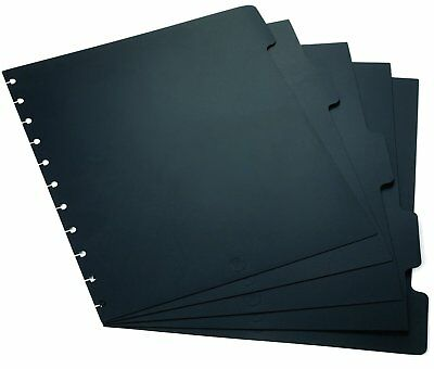 """Arc Notebook Tab Dividers Letter-sized Black 9"""" x 11"""" Set of 5 New"""