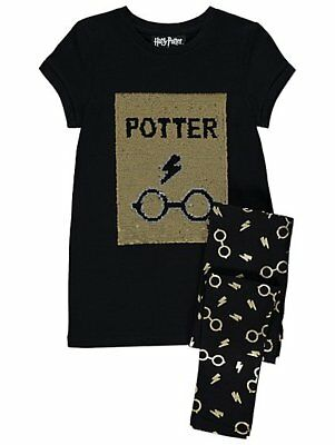 Harry Potter Swipe Sequin Pyjama Pyjamas Girls Short Sleeve Pyjama Set Kids PJs