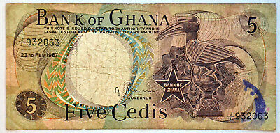 1967 Bank of Ghana 5 Cedis Banknote Paper Money Africa Note Bill Old 932063