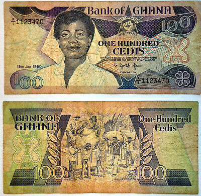 1990 Bank of Ghana 100 Cedis Banknote Paper Money Africa  Get Involved   1123470