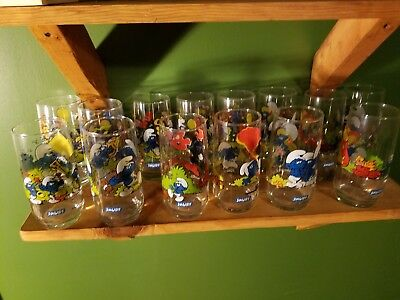 SMURF DRINKING GLASSES ~ Vintage 1982-1983 ~ Lot of 14 Duplicate ~ Excellent