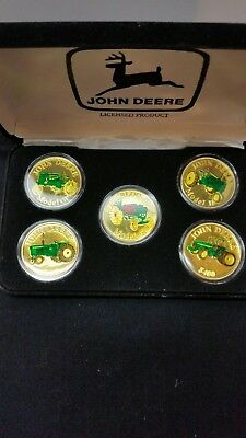 John Deere Tractor .999 Silver Round 1 Troy Oz Coin Set Gold front !