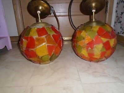Pair Vintage Mid Century Modern Orange Lucite Chunky Swag Hanging Light Lamp