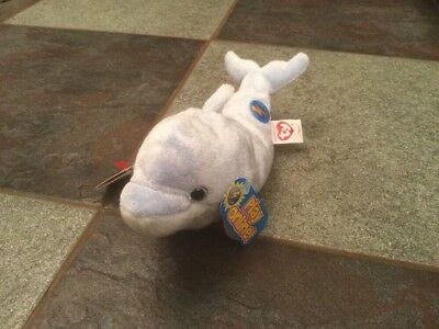 "Ty Beanie Babies 2.0  Clipper The Dolphin Nwt 9"" Long Light Blue & So Adorable"