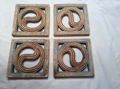 Four Antique Claycraft Art Tiles Arts and Craft Period