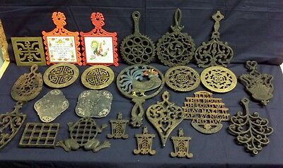 Awesome Large Lot of Cast Iron and other great kitchen Trivets - Hot Plates