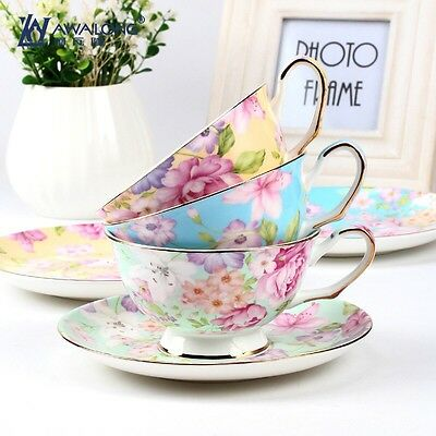 Breakfast Afternoon Tea Set/ Cup And Saucer/ Yellow Flower Pattern