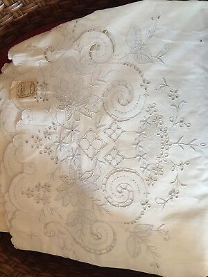 Vintage Madeira Hand EMBROIDERY BED SHEET and PILLOW CASES Cut Work Unused