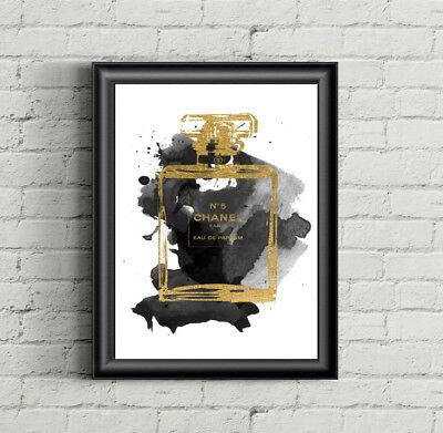 Set Of 3X Coco Chanel Fashion Colour Prints Wall Art Poster Perfume Decor Print