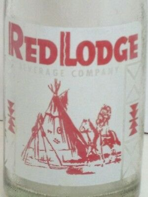 CLEAN! RED LODGE, MONTANA / BEVERAGE CO ACL soda bottle INDIAN TEEPEE etc    #G2