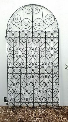 FRENCH STYLE ARCH PEDESTRIAN  SIDE GATE BLACK WROUGHT IRON  1800X960mm  Bargain