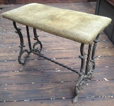 Rare Vintage Art Deco Era Cast Iron Ornate Vanity Piano Bench Could Use As Table