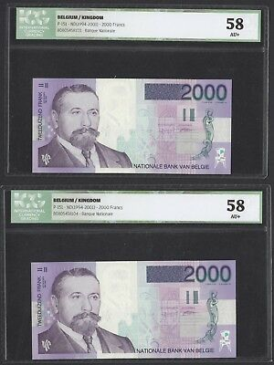 [46] BELGIUM • 2000 Frank/Francs • P151 • ND • AUNC+ • grading 58, CONSECUTIVES!
