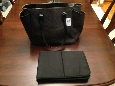COACH Signature Baby Diaper Bag Multifunction Laptop Tote Brown Black F35414 NWT
