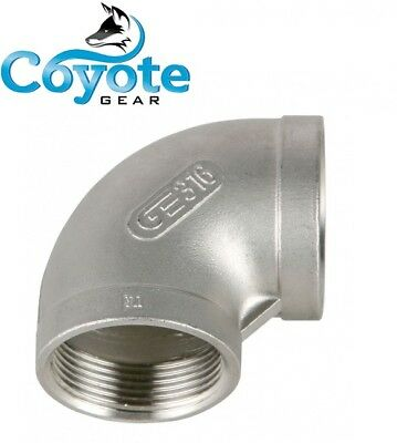 "1/8"" NPT 316 Stainless Steel Elbow 90 Degree Female Pipe Thread Coyote Gear SS"