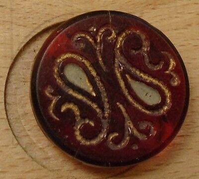 "NICE 11/16"" Two Paisleys on Ruby Glass Antique Button 678:16"