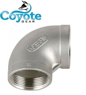 "1/2"" NPT 316 Stainless Steel Elbow 90 Degree Female Pipe Thread Coyote Gear SS"