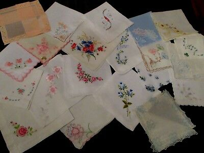 lot of 20 Vintage Pink/Blue Embroidered floral hankies fine quality many unused