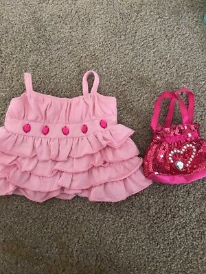 Build A Bear Cute Pink Outfit! Dress And Bag