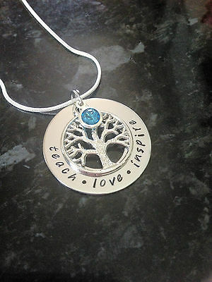 Hand Stamped Personalised Tree Of Life Name Necklace + Birthstone. Custom Made