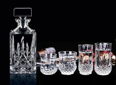 Pack of 6 Water Drinking Whisky Tasting Set Cup Cocktail Glasses Diamond Crystal