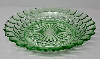 Vintage Bubble Pattern Depression Glass Bowl in Forest Green with Scalloped Edge