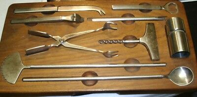 Vtg Georg Jensen Stainless Steel Barware Utensil Set Wood Tray 10PC Collectible