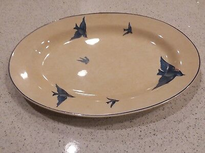 "Very large Vintage 15.5"" Oval China Platter Knowles, Taylor, & K Bluebird"