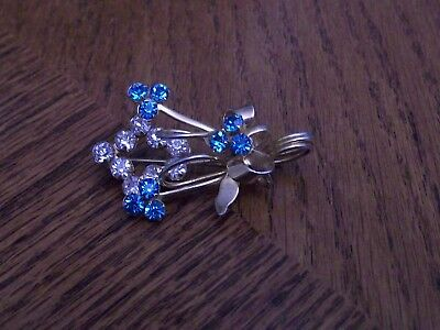 vintage rhinestone pin/brooch blues and clear rhinestone