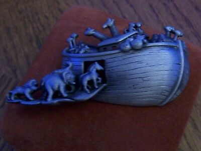 vintage Noah's ark brooch/pin in ?pewter Marked on back AJC