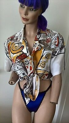 90s floral and abstract patterned s/s blouse shirt Size Large