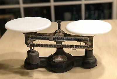 Antique OHAUS Double Pan Balance Scale w/Milk Glass Pans