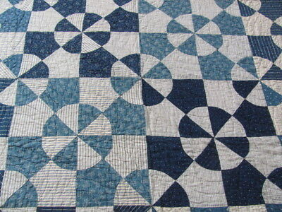 Lovely early 1900's indigo cadette blue hand stitched quilt