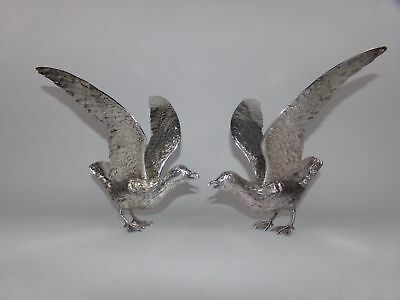 2 ANTIQUE STERLING SILVER BIRD FIGURINES-DINNER TABLE BIRDS-HUGE!-73ozt!!10.5in