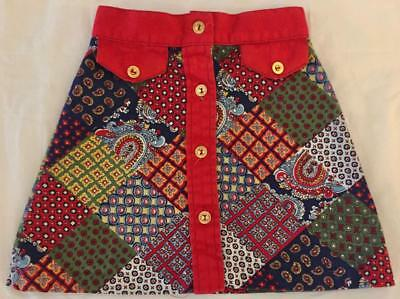 Vintage 1960s 1970s Girl's Patchwork Style Corduroy Button Down A-Line Skirt