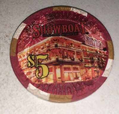 Showboat $5 Casino Chip Atlantic City New Jersey 2.99 Shipping